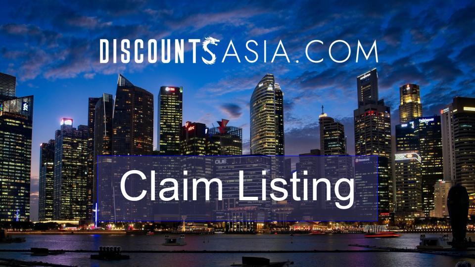 Discounts Asia Claim Listing