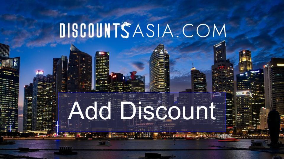 Discounts Asia - Add Discount