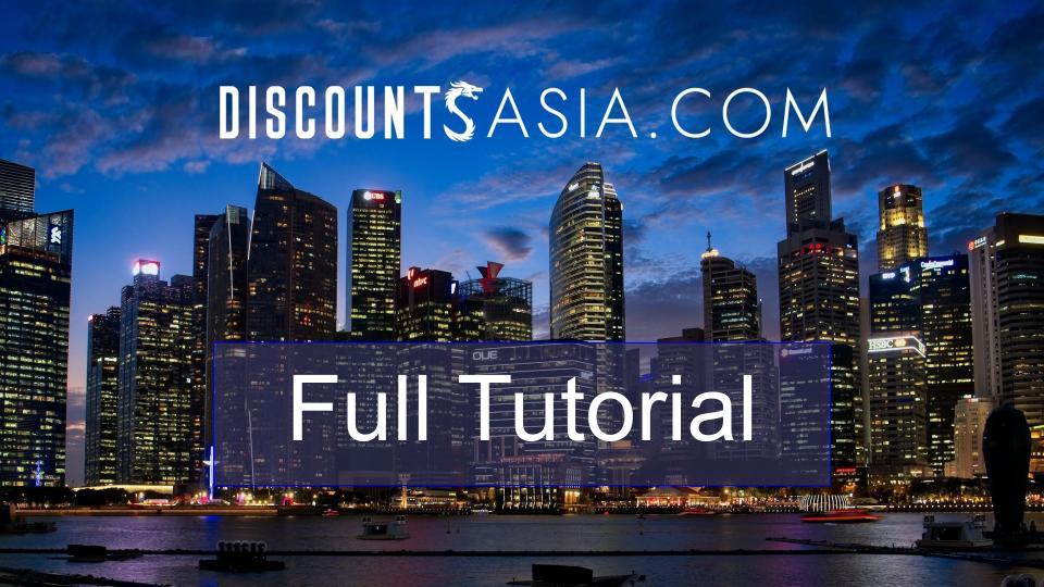 Discounts Asia Full Tutorial