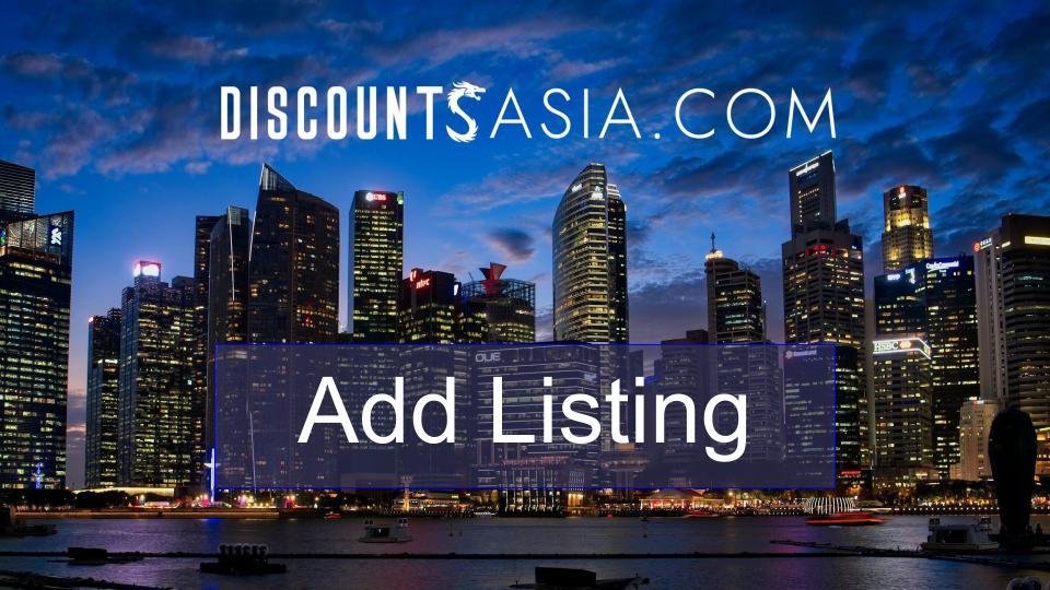 Add Listing Discounts Asia